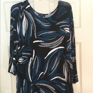 Alfani Women's Tunic 3/4 sleeve Black multi